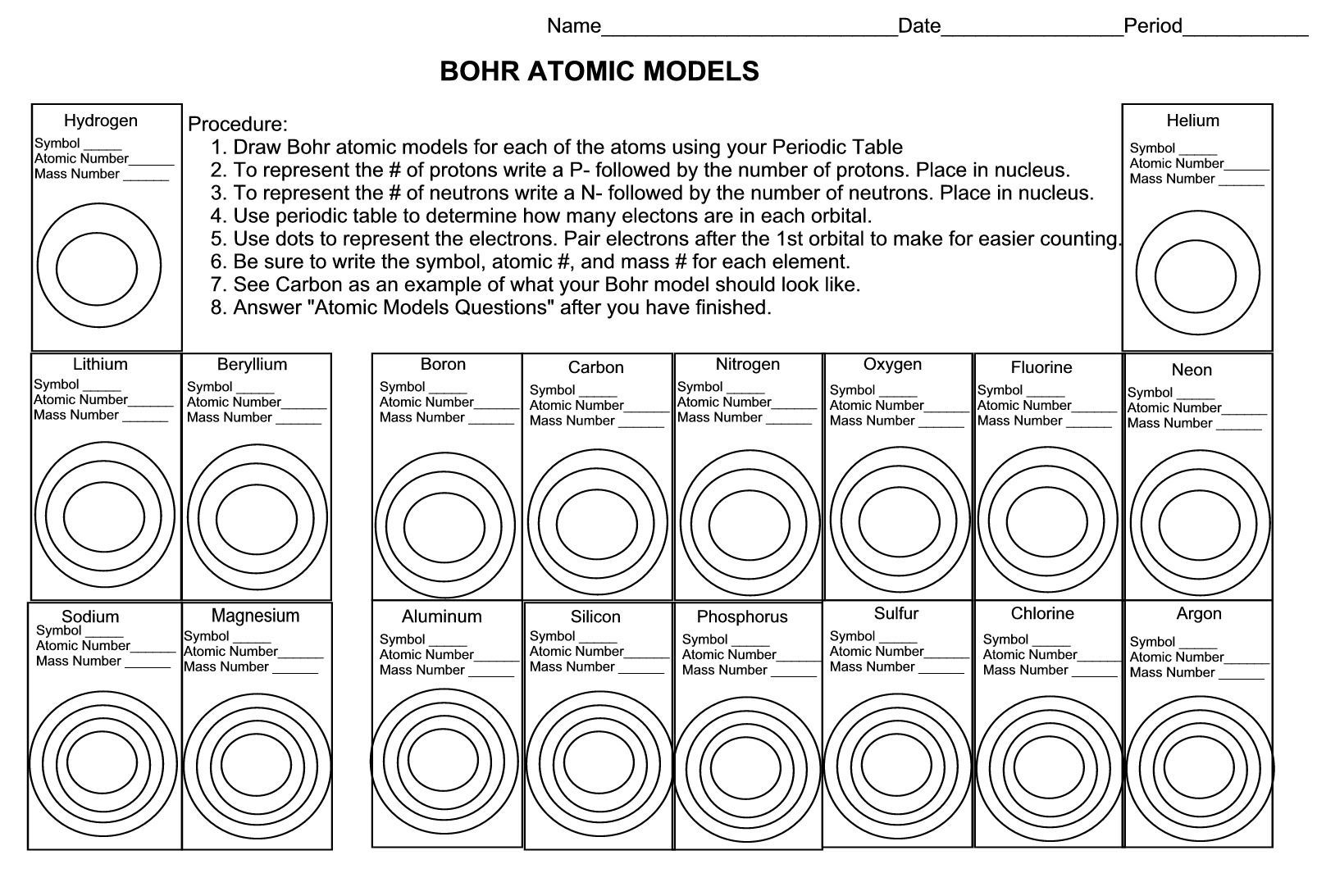 Atomic structure worksheet key ...