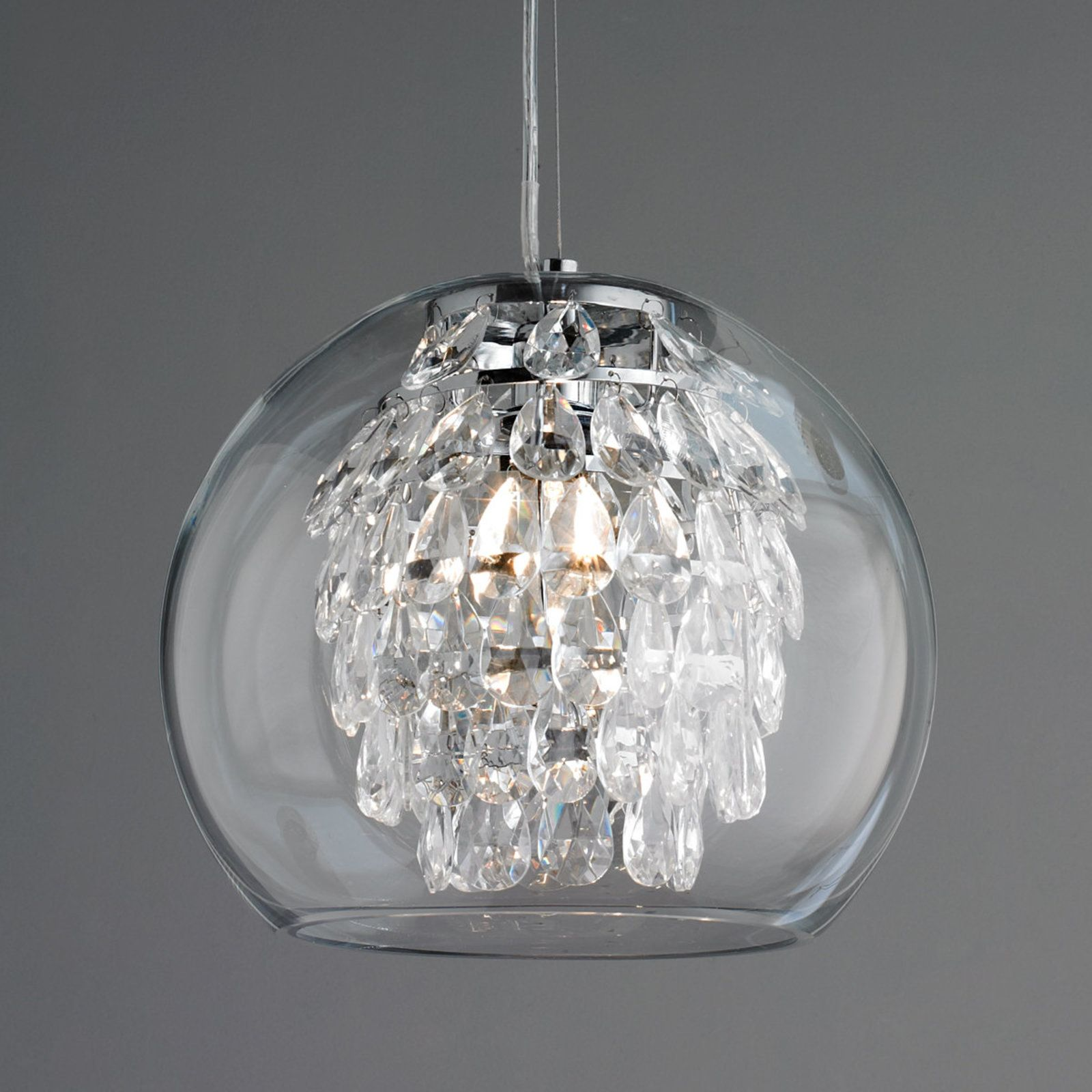 glass globe and crystal pendant light  crystal pendant lighting  - glass globe and crystal pendant light