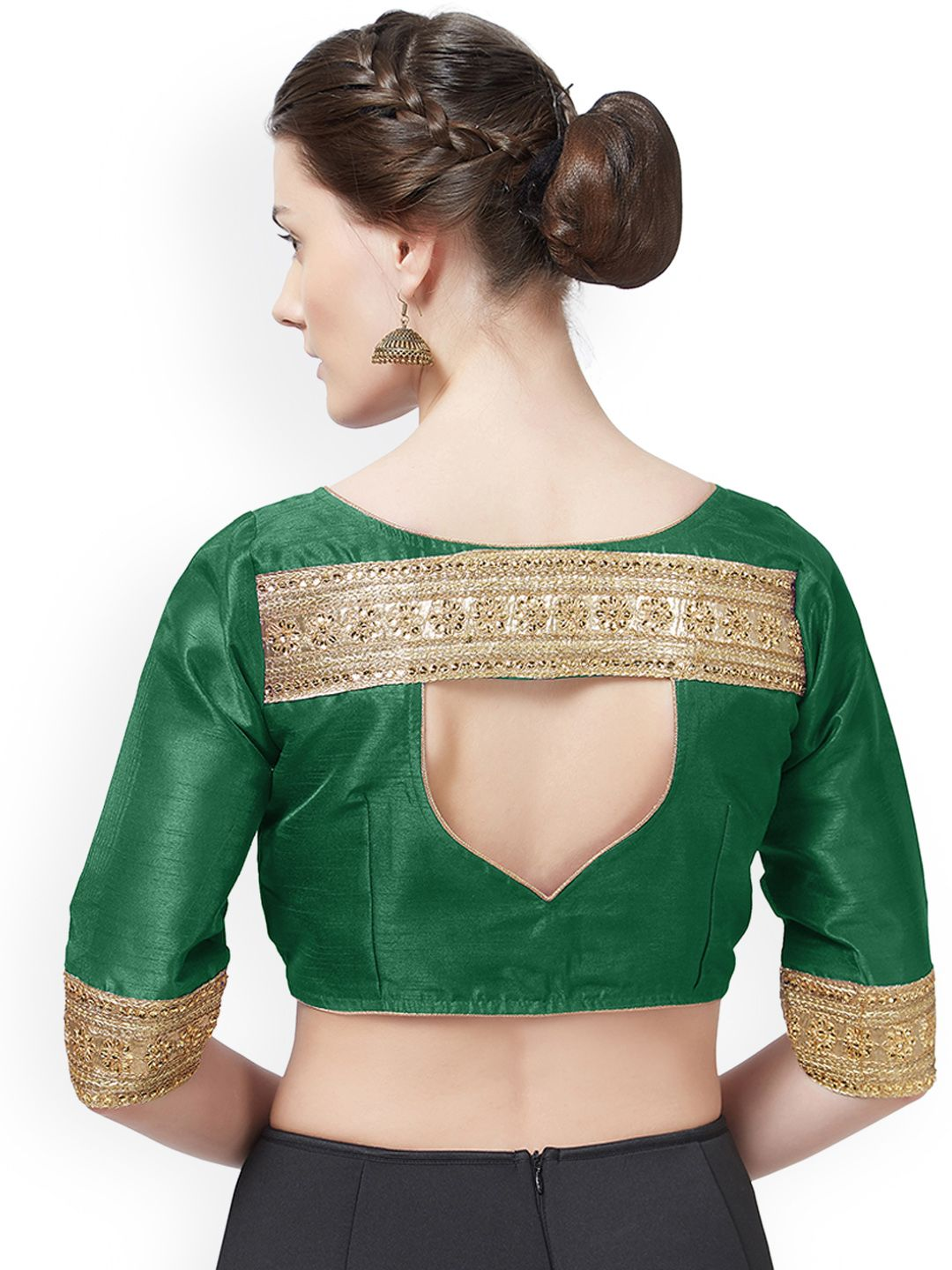 6f4be00ed8854 Buy Mirchi Fashion Green Woven Design Art Silk Saree Blouse - Saree Blouse  for Women 7270364