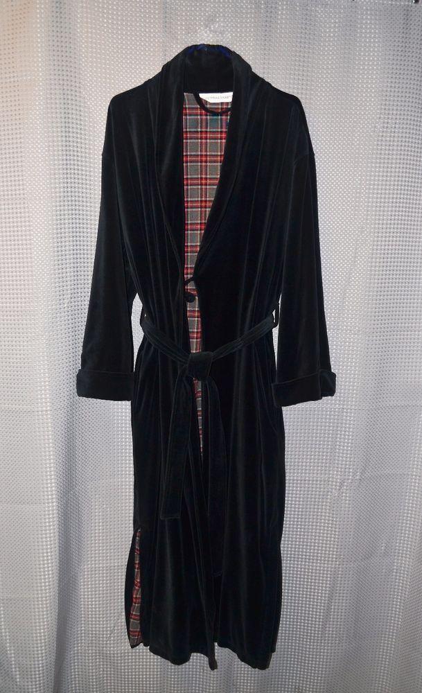 Victoria's Secret Black Velvet Floor Length Robe Plaid Lining Smoking Jacket M/L #VictoriasSecret #Robes