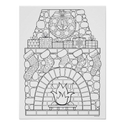 Christmas Fireplace Coloring Poster Zazzle Com Christmas