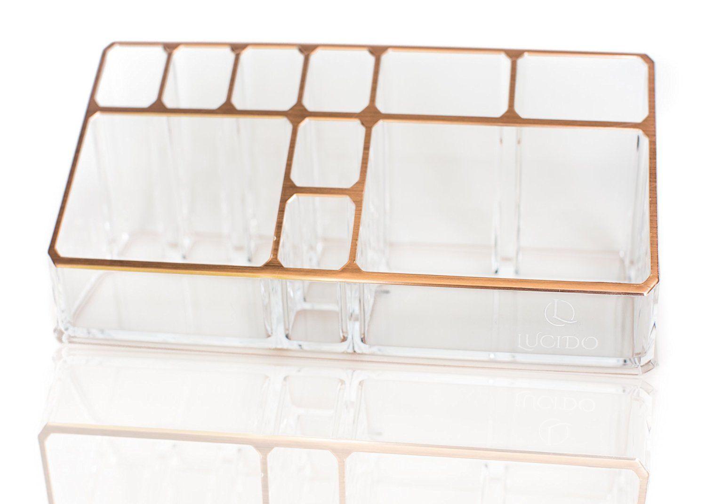 amazon com rose gold acrylic desk makeup organizer lucido group rh pinterest com