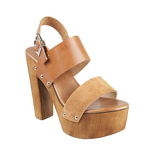 OAKLEE COGNAC LEATHER women's sandal high wood bottom - Steve Madden