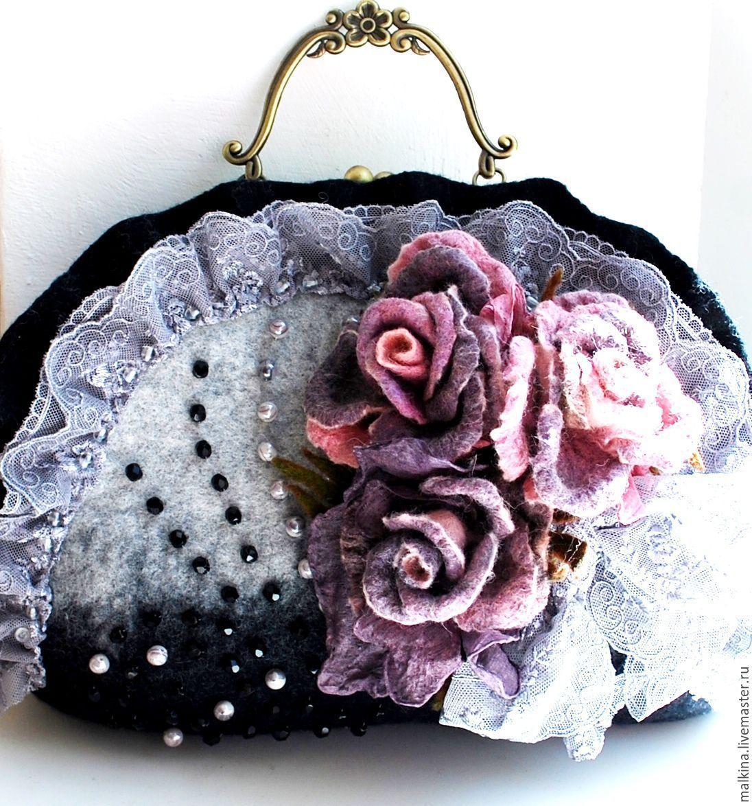 Photo of Handmade women bags. Felted bag