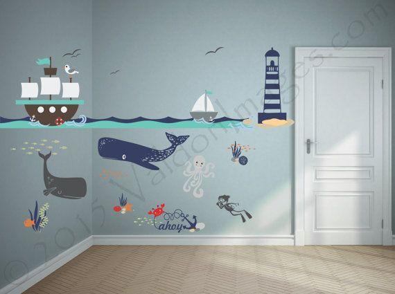 Photo of Ähnliche Artikel wie Ship adventure, nursery decals, nautical wall decor, nursery decor, ocean wall decal, sea wall decal, kids wall decor, underwater wall decal auf Etsy