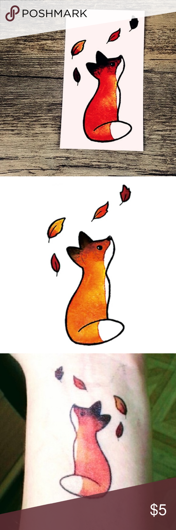 Watercolor Fox Temporary Tattoo Boutique   Watercolor fox ...
