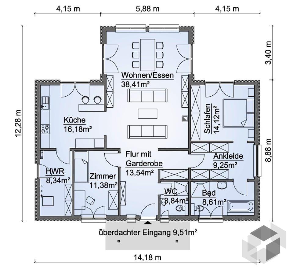 Hauspläne bungalow  SH 136 WB Var. D von ScanHaus | Bungalow | Walmdach | haus ...