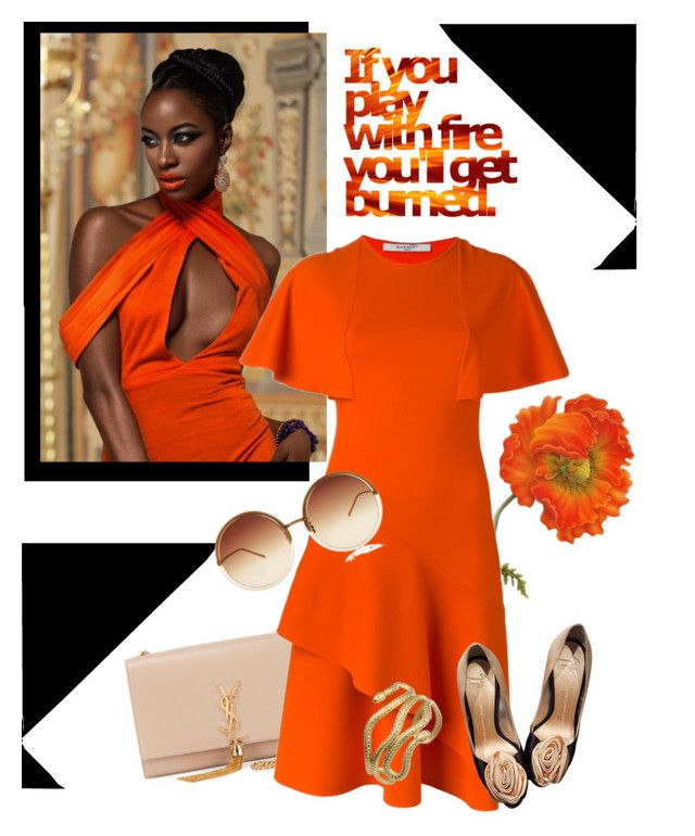 """""""Orange"""" by poshscarlet ❤ liked on Polyvore featuring Yves Saint Laurent, Givenchy, Q&Q, Giuseppe Zanotti and Linda Farrow"""