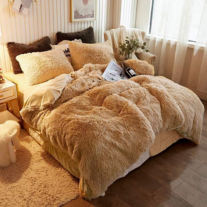 Amazon Com Xege Plush Shaggy Duvet Cover Luxury Ultra Soft Crystal Velvet Bedding Set 1pc 1 Faux Fur Duvet Cover Zip In 2020 Faux Fur Bedding Fur Bedding Bedding Set