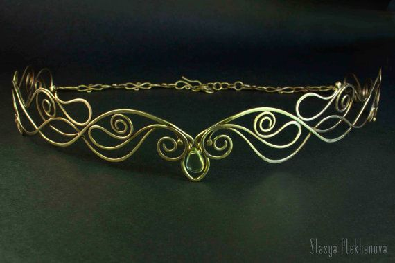 Elven tiara Lemon quartz tiara Brass tiara Elven by StasyaWireWrap