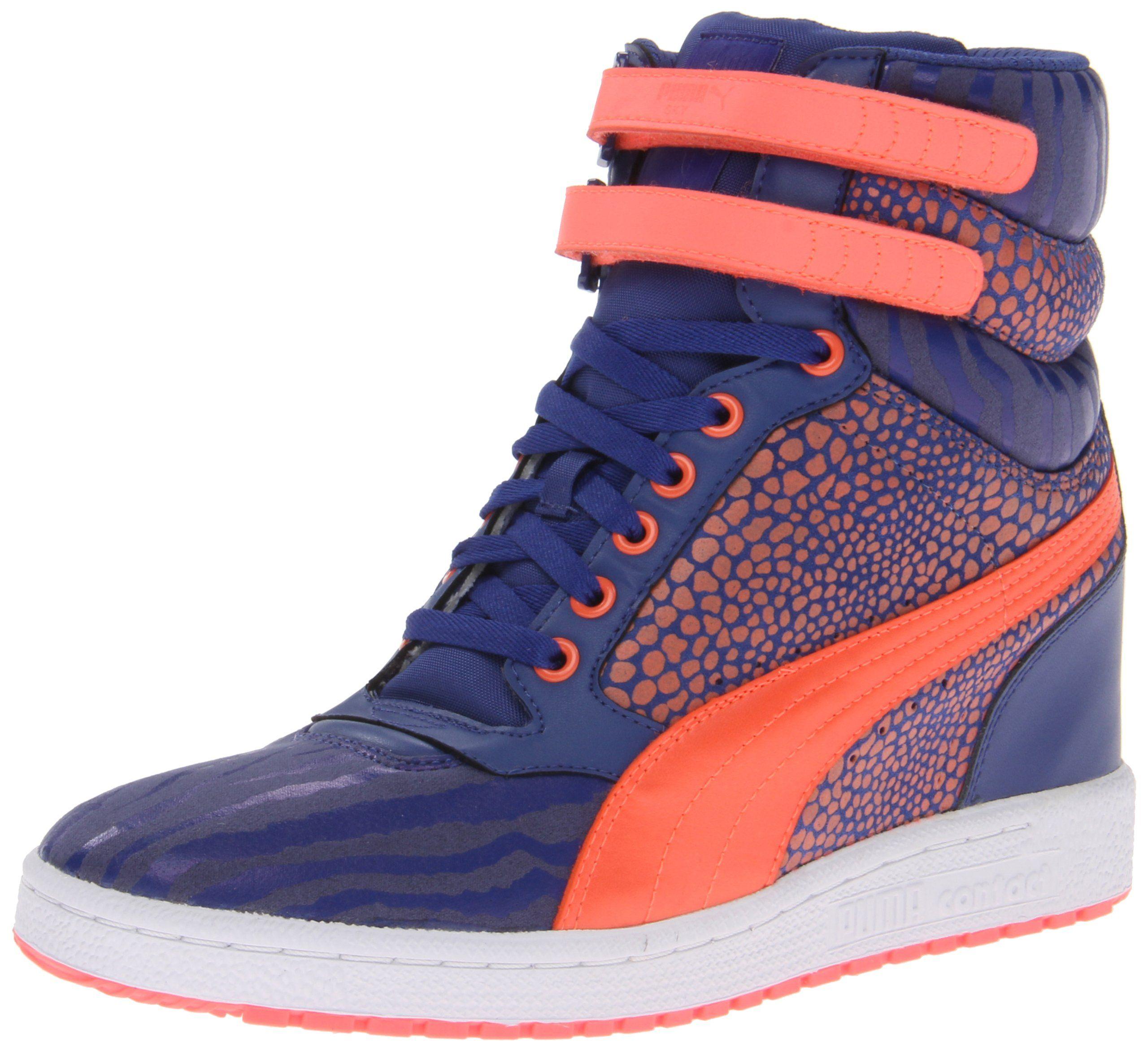 Amazon.com: PUMA Women's Sky Wedge Reptile Fashion Sneaker, Black, 8.5 B