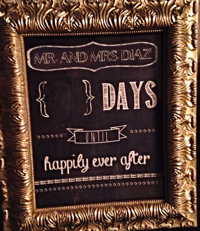 Engagement gift - chalkboard countdown to the big day