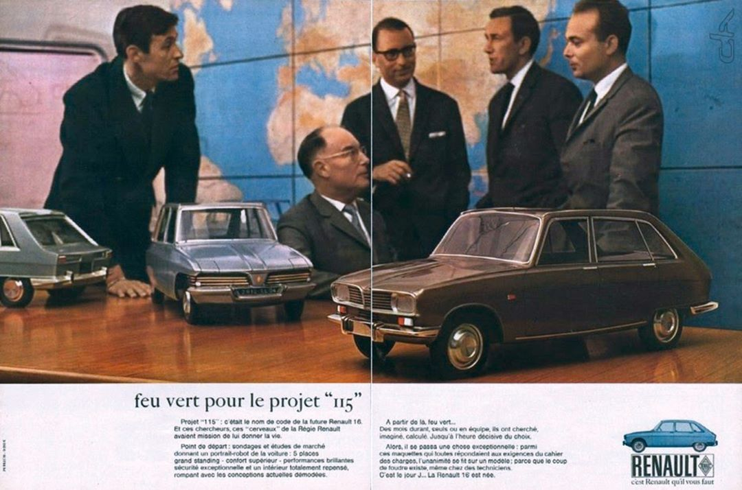Car Design Archivesさんはinstagramを利用しています 1965 Renault 16 Project 115 For The Renault 16 Launch Publicis Asked To The R16 Key People To Strike A Pos Annoncer