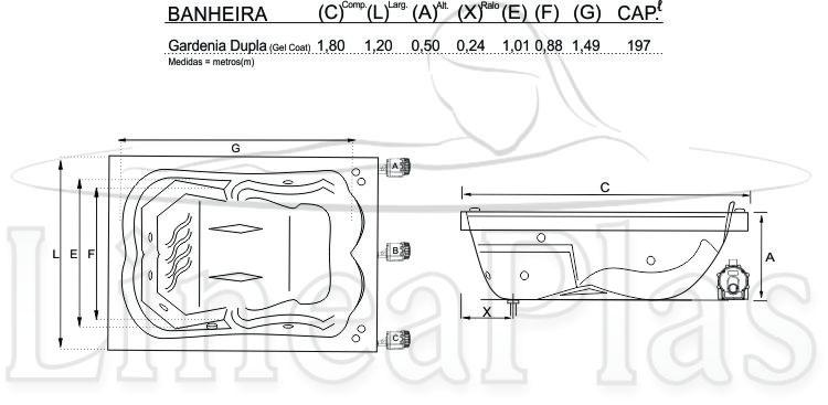 Banheira Gardenia 1,80 x 1,20 x 0,50 Com Hidro Completa - Só Banheiras