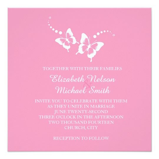 Elegant Pink Beauty Butterfly Wedding Invite
