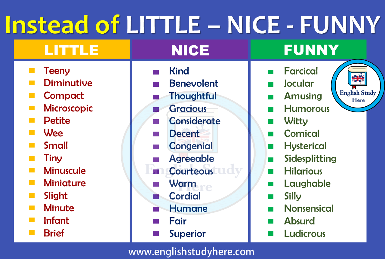 Instead Of Little Nice Funny English Study Words Happy Synonyms