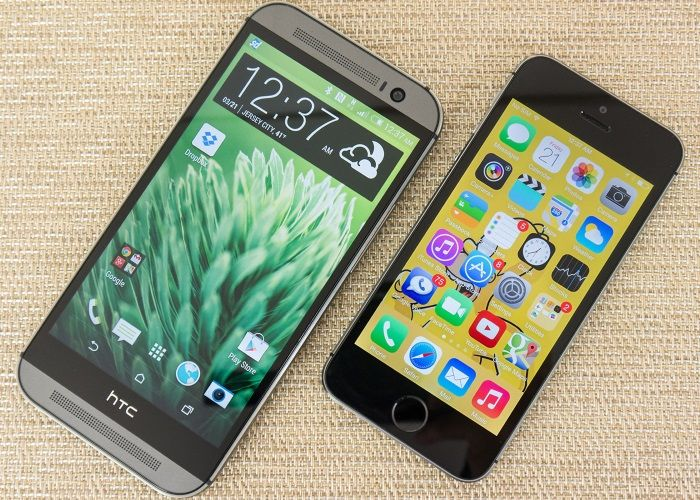 HTC One M8 and iPhone 5s Black