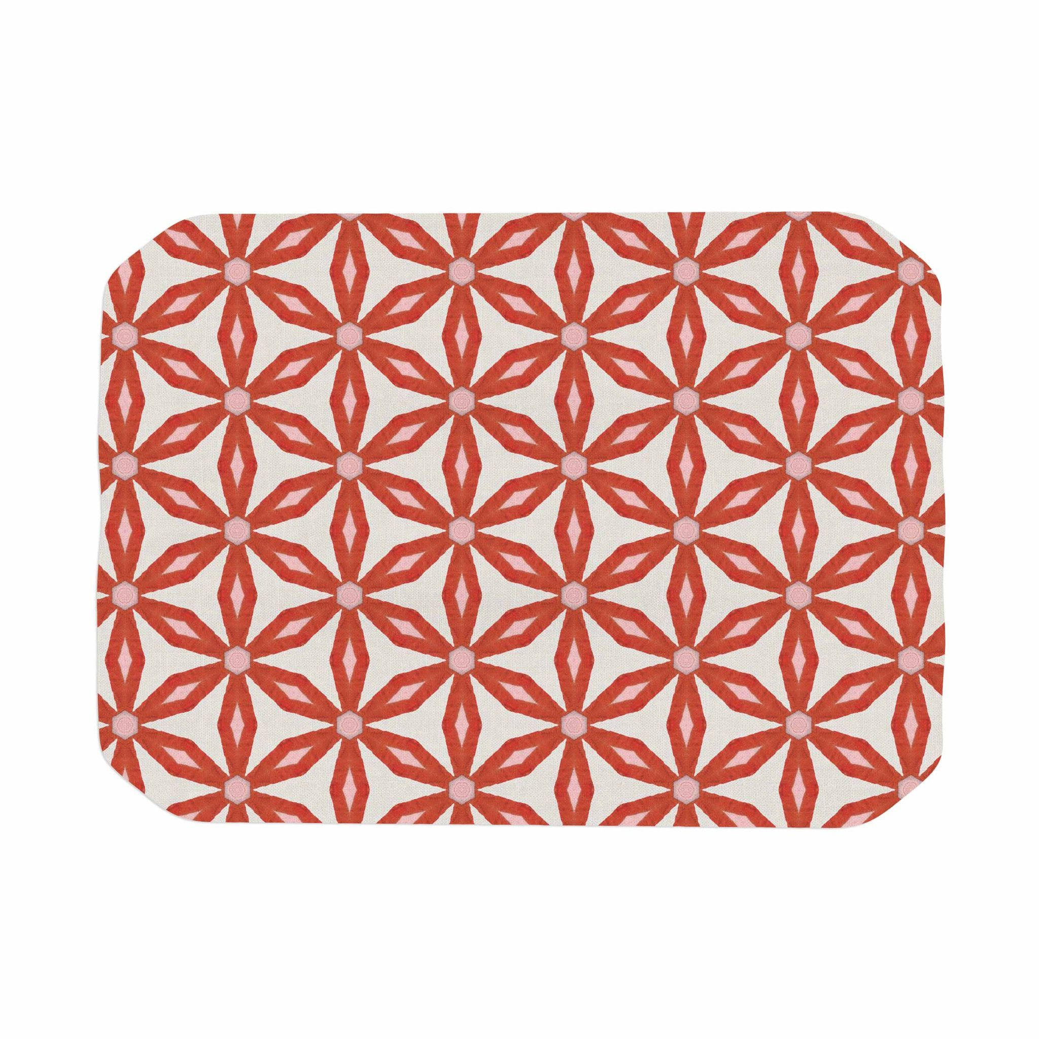 "Nic Squirrell ""Stars In Circles"" Red Beige Place Mat"
