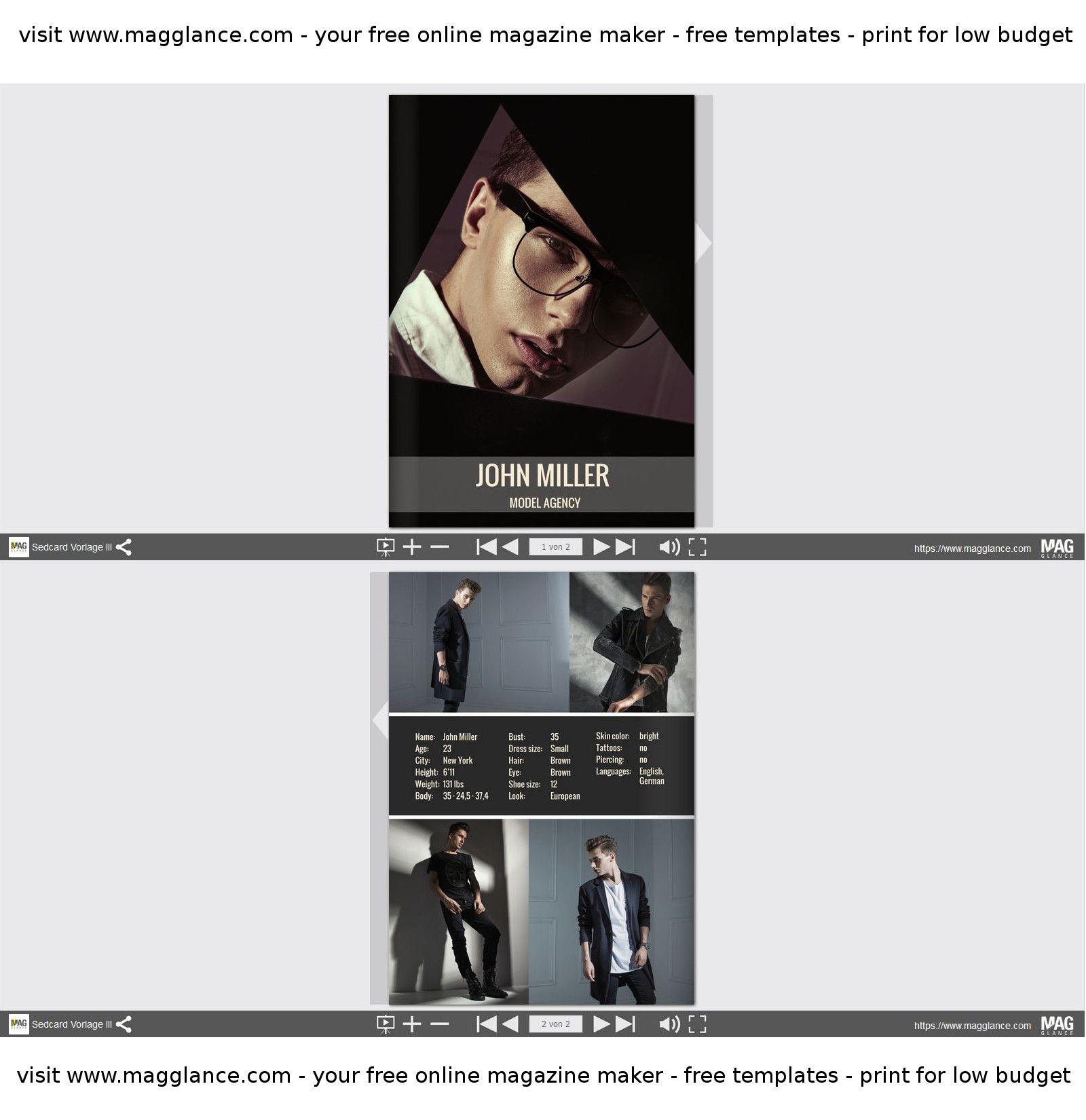 Model oder Schauspieler Sedcard kostenlos online erstellen und