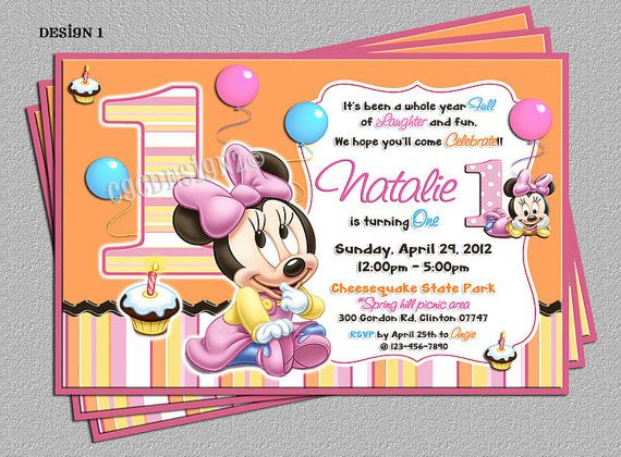 Baby minnie mouse 1st birthday party invitations includes free baby minnie mouse 1st birthday party invitations includes free thank you card diy digital file you print filmwisefo Choice Image