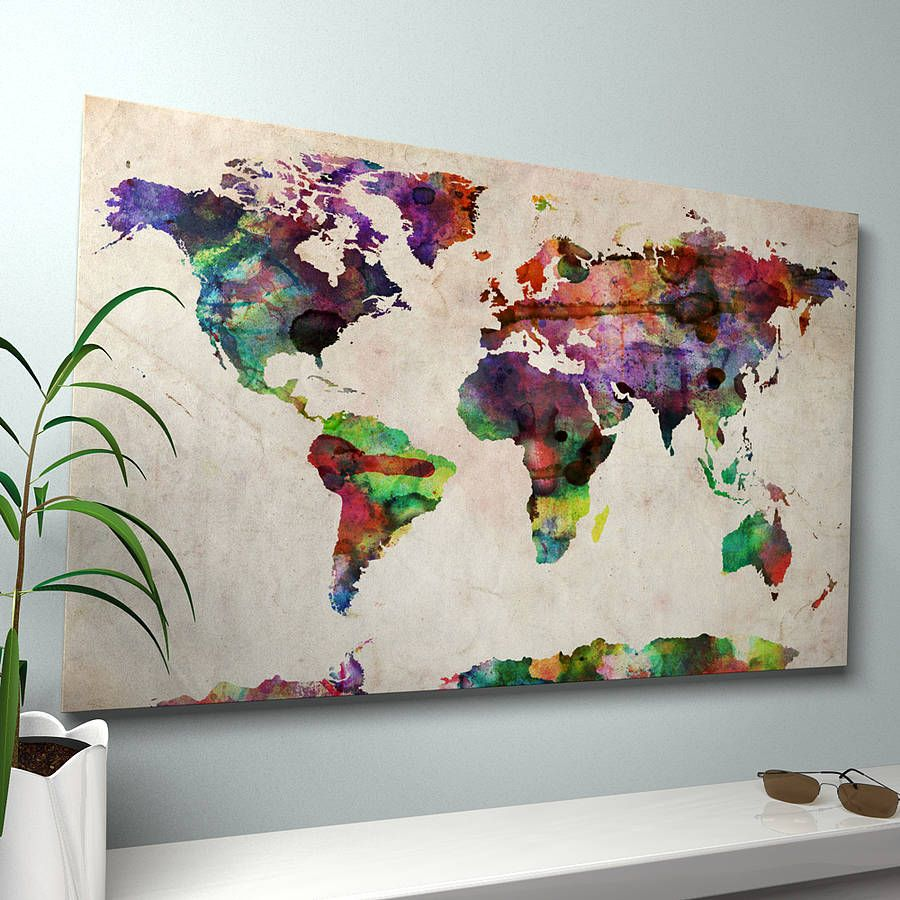 World map in watercolour love it diy pinterest watercolor map of the world ready to hang canvas print gumiabroncs Gallery