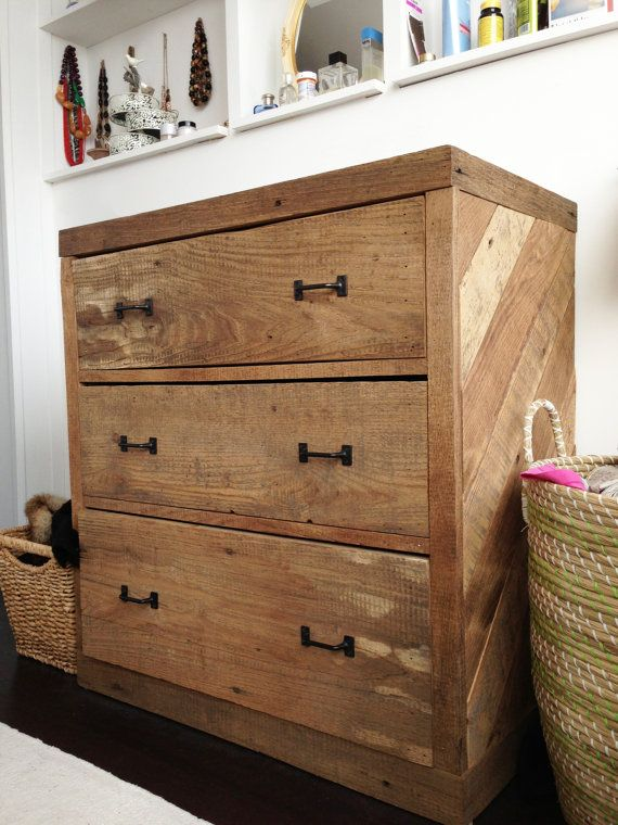 Handcrafted Reclaimed Barn Wood Chevron Dresser Nightstand 525 00 Via Etsy