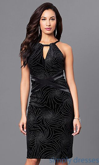 SD-S277100 - Embellished Short Black Knee-Length Holiday Dress ...
