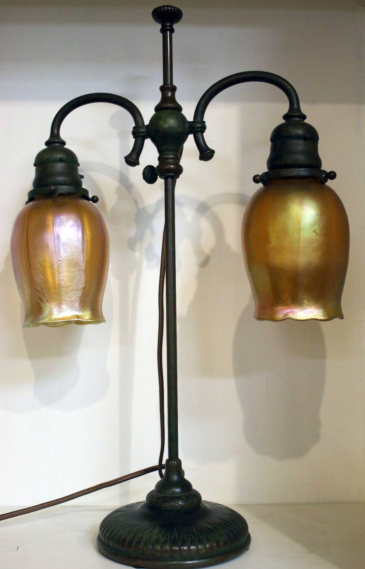 Tiffany studios new york bronze double student lamp