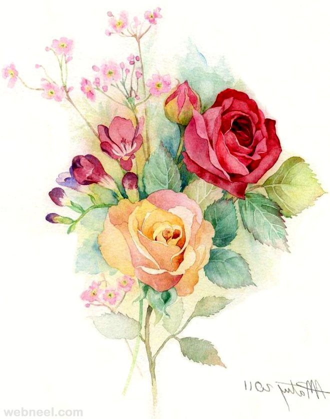 25 beautiful rose drawings and paintings for your for How to paint a rose watercolor