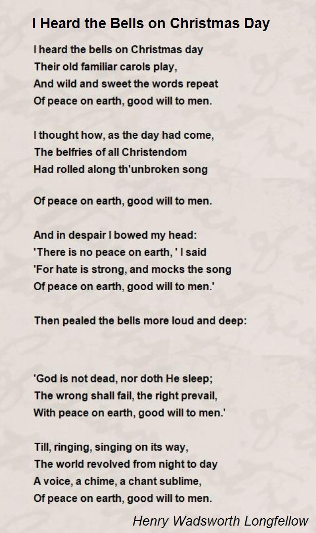 I Heard The Bells On Christmas Day By Longfellow 1863