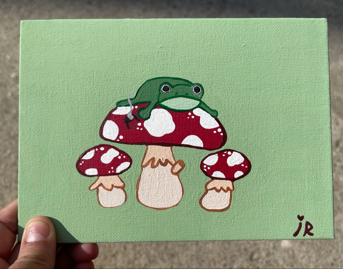 Frog Mushroom Painting In 2021 Mini Canvas Art Diy Canvas Art Painting Diy Art Painting