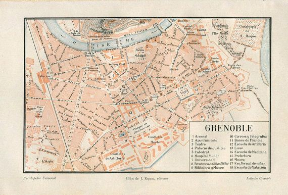 Grenoble Vintage City Map Street Plan 1920s by CarambasVintage
