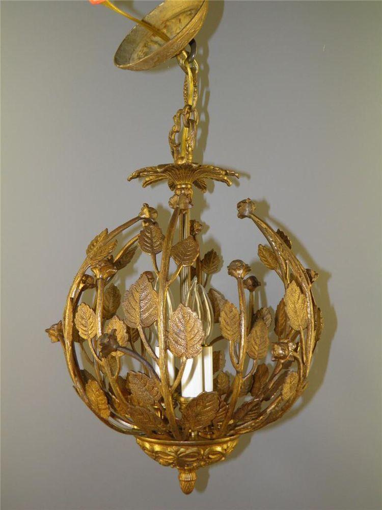 Antique bronze ornate leaf floral roses nest chandelier light ...