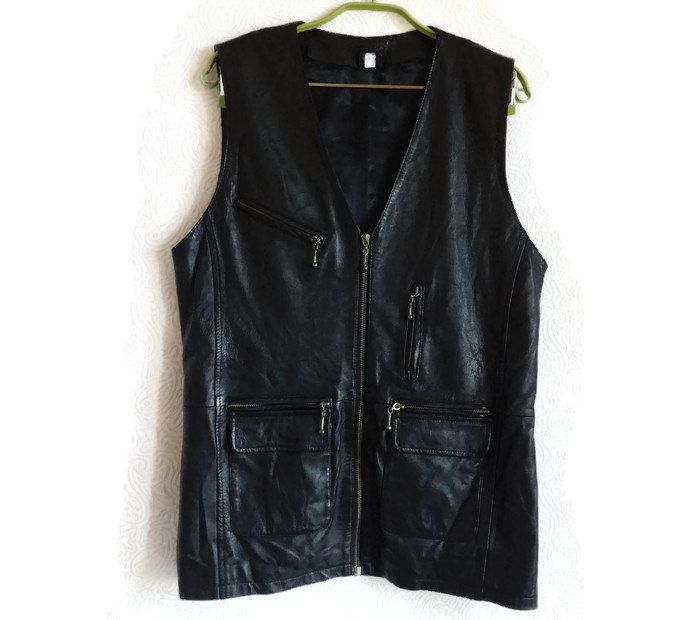 Black genuine leather vest men 39 39 s women 39 s vest travel vest for Travel shirts with zipper pockets