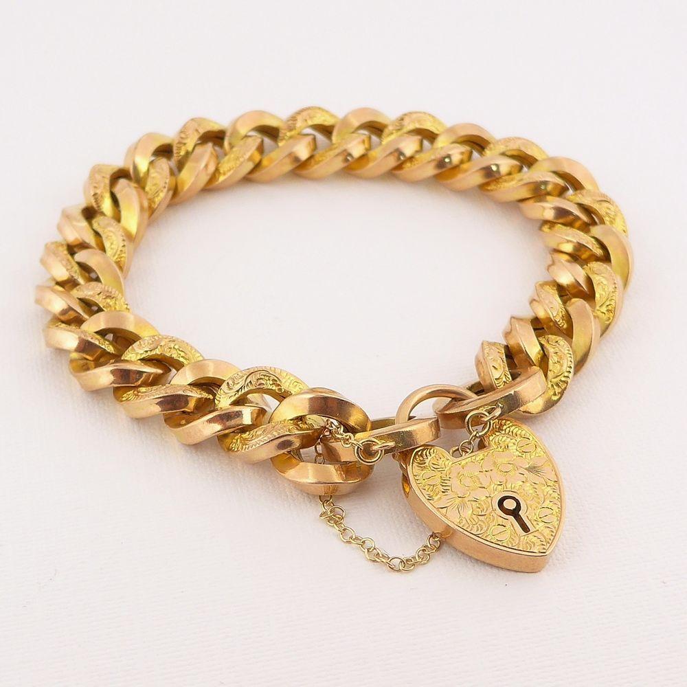 Fine antique victorian edwardian heart padlock bracelet ct rose