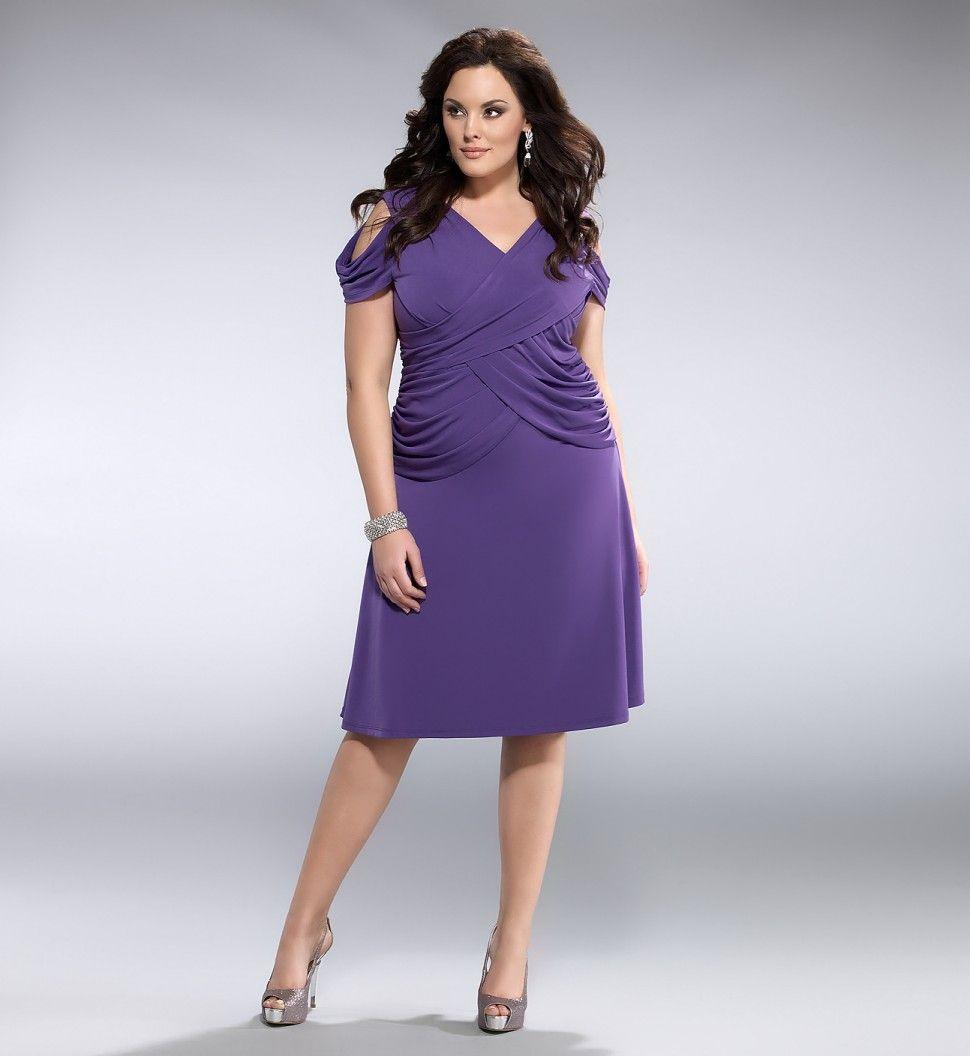 color violeta para este vestido corto fiesta | TALLAS GRANDES ...