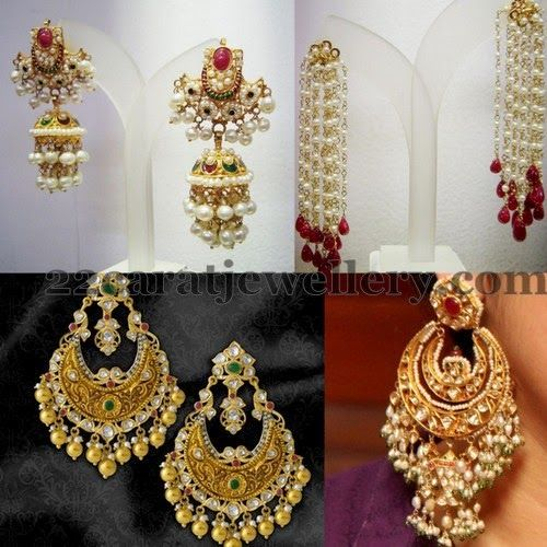 Flawless akoya and basara pearls combination jhumkas and chaand balis collection . Left: 1) Classic Jhumkas with 22 carat gold and red ...