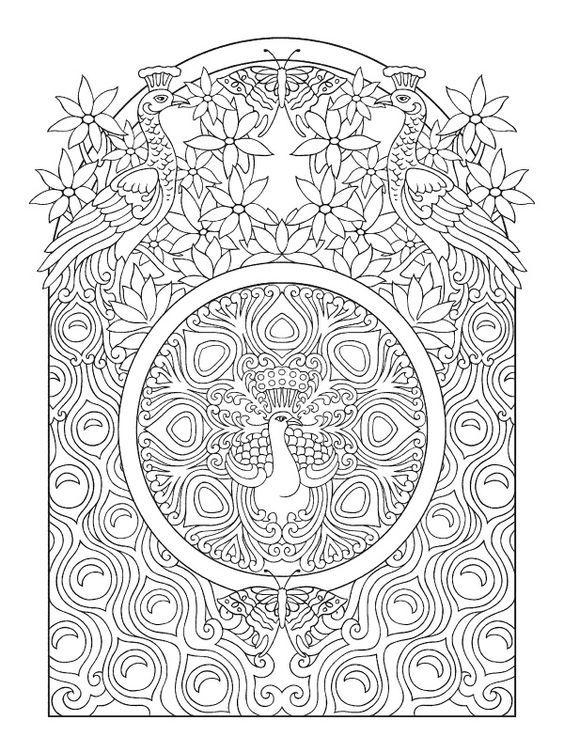 Art nouveau peacock color page