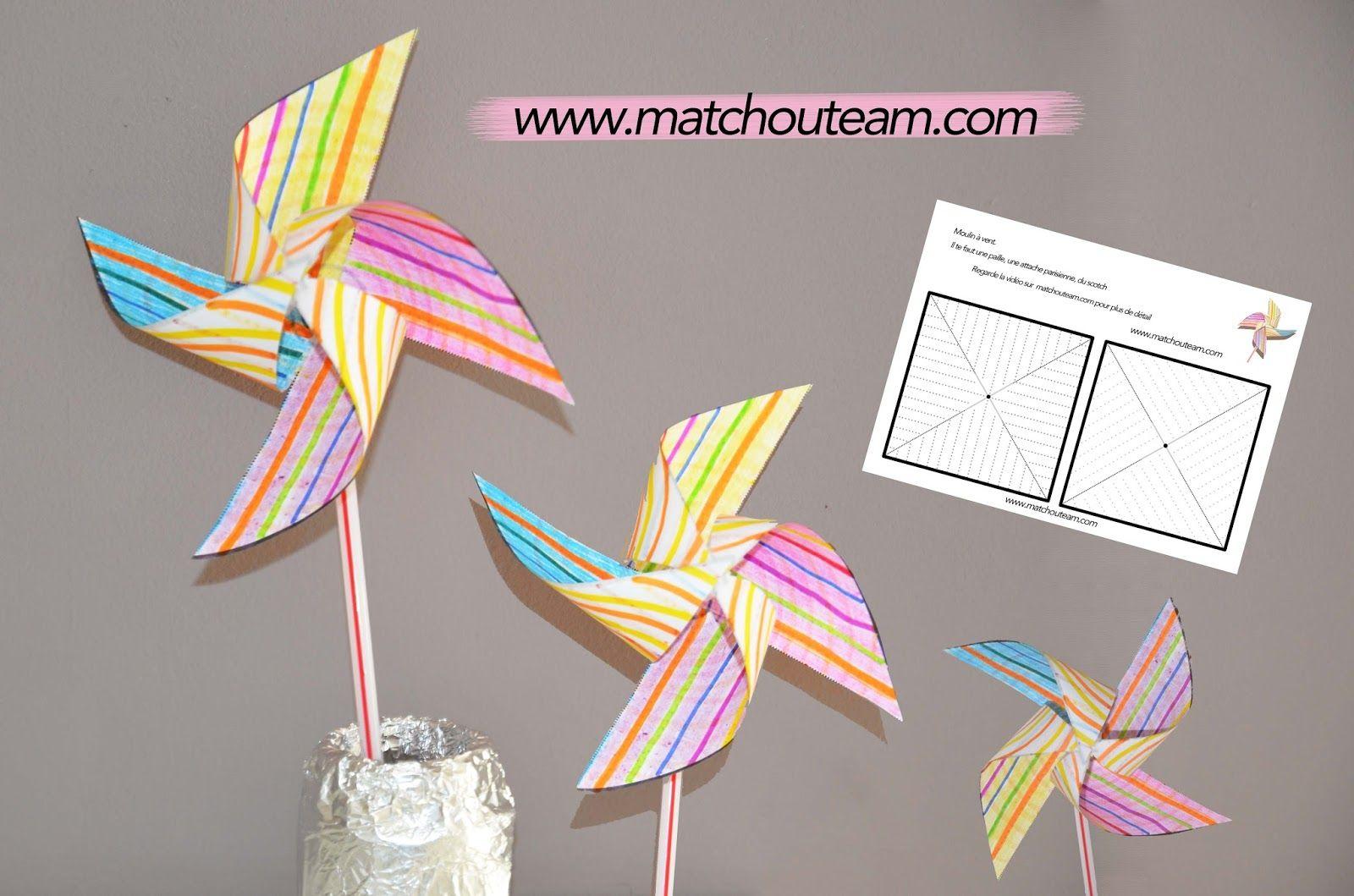 Moulin vent sans punaise paper toys - Comment fabriquer un moulin a vent en papier ...