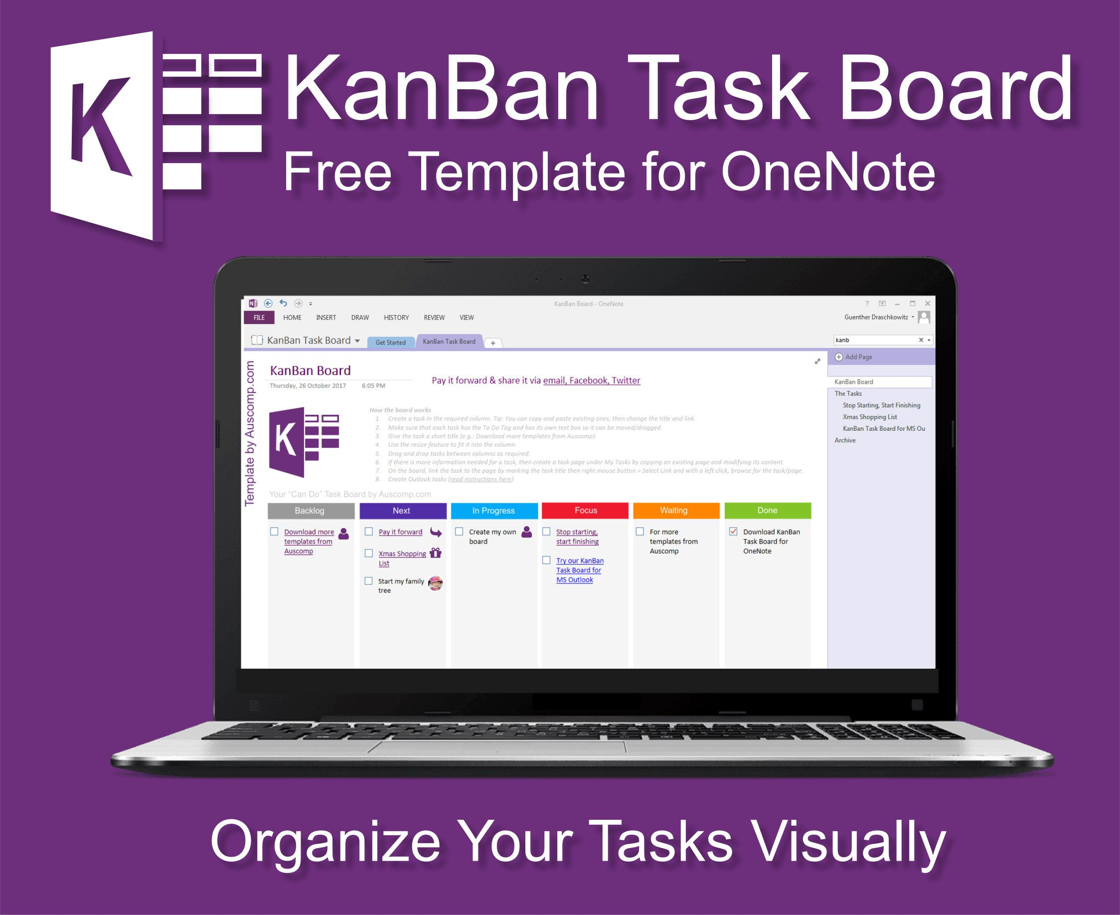 Visualize Your Tasks In An Easy To Use Kanban Board For Ms Onenote