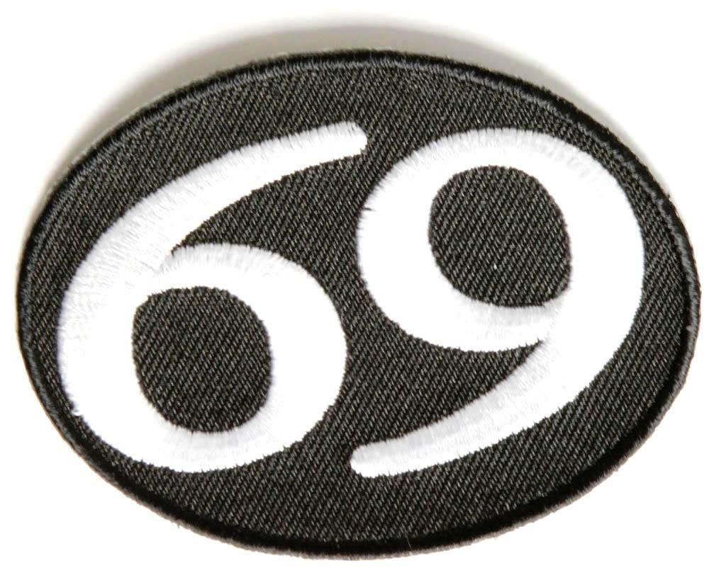69 Oval Embroidered Funny Cool Motorcycle Biker Jacket Vest Patch P7553