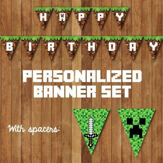Minecraft Birthday Banner, MINECRAFT BIRTHDAY BANNER