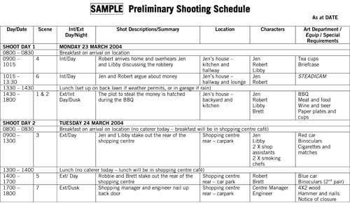 Shooting Schedule Template 363 Schedule Templates Schedule