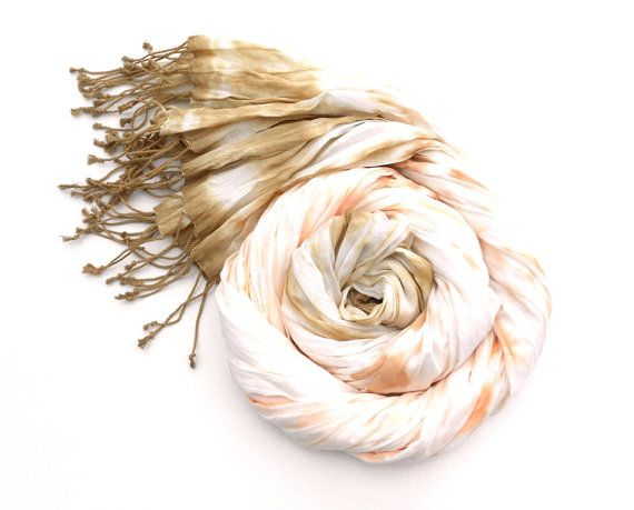 Coral and Brown Cotton Crinkle Scarf Dip Dye Scarf by Schalrausch, €23.50