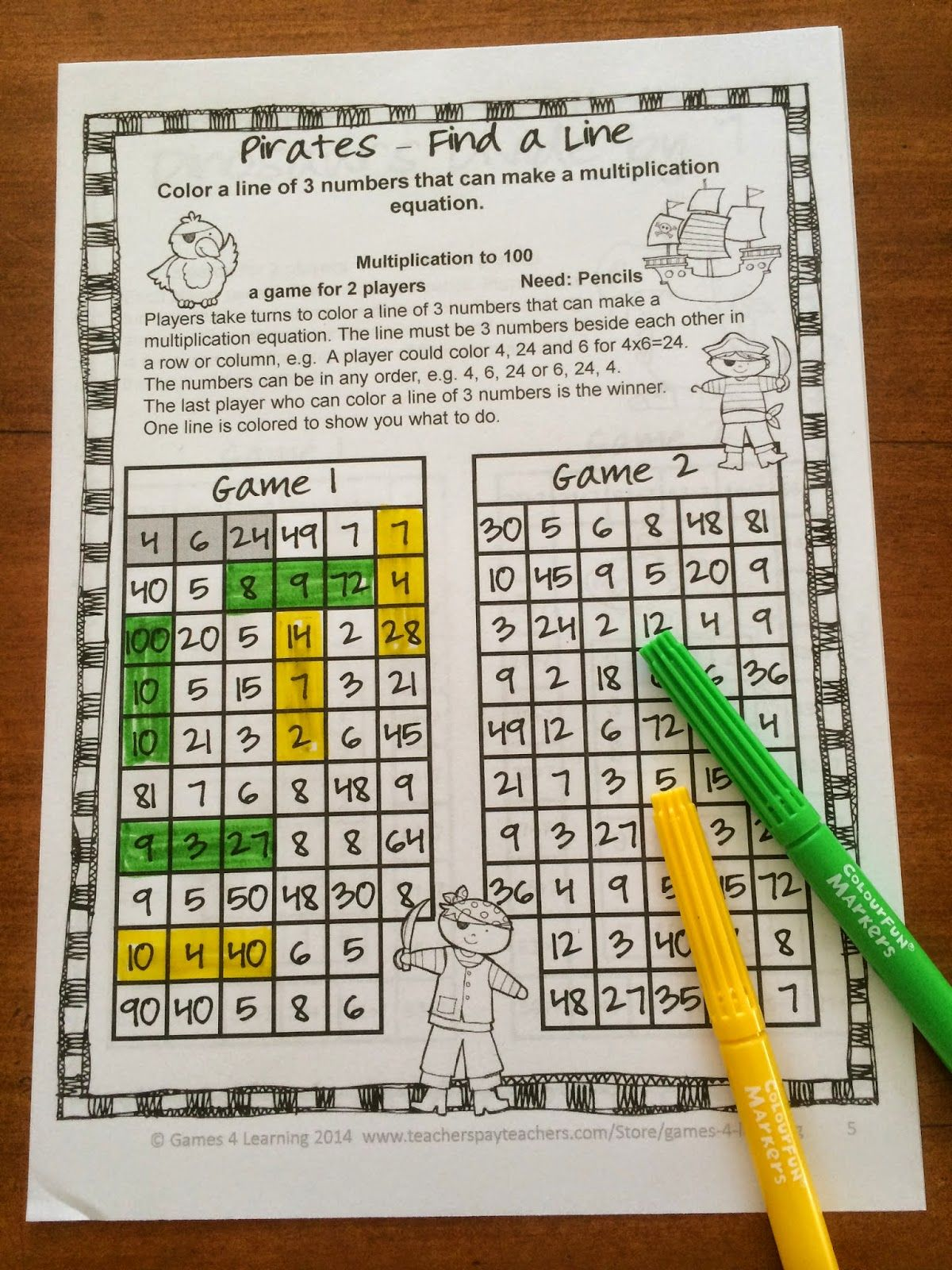 FREEBIE - Multiplication NO PREP Math Games Repinned by Chesapeake ...