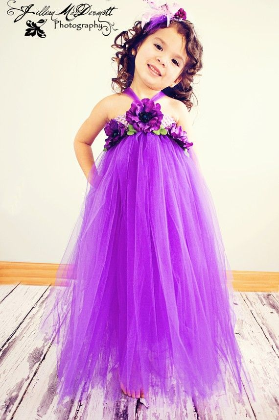 Purple tutu halter Dress w/ purple flower embellishments. Halter tie ...