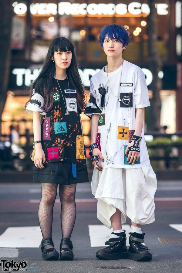 8cbf23dddfe Harajuku Couple Streetwear w  Patched Shirts