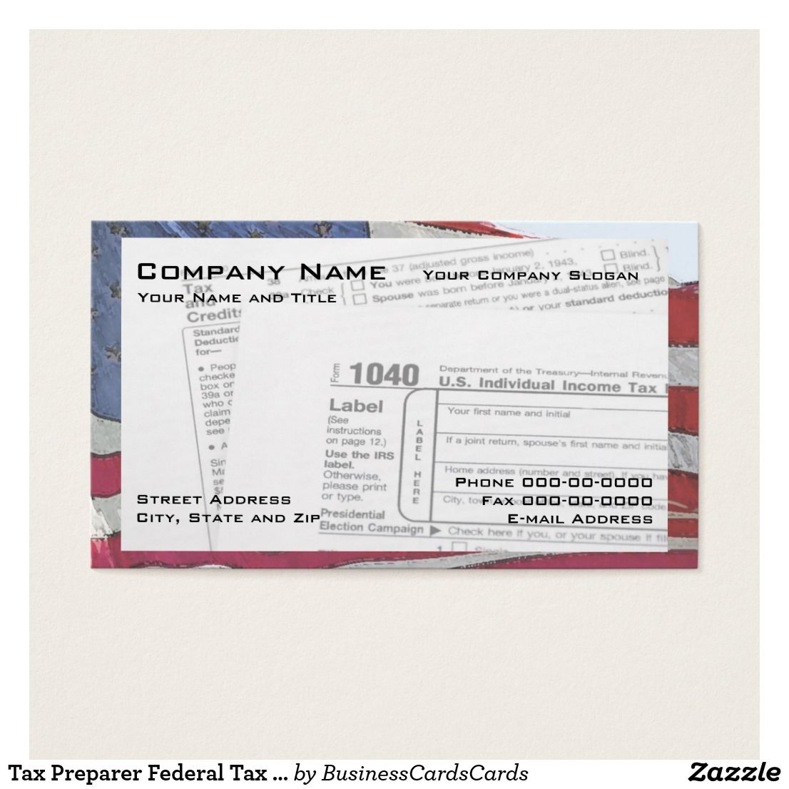 Tax Preparer Federal Tax Form Business Card | Federal and Business