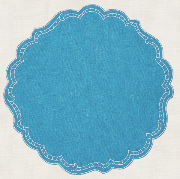 La Gallina Matta Round Placemats ~ Set of 6 (Multiple Colors) Size:\u00a013.7\ D Set of 6 These lovely placemats are made in Italy and constructed of pure linen, coated (or \u201coil clothed\u201d) and finished with a tailored double border embroidered in mercerized cotton. The color range is incredible for both informal dinnerware or the most elaborate fine china. What is so wonderful and unique about these placemats is their unique coating that makes them stain\u00a0resistant. Caring for plac #setinstains