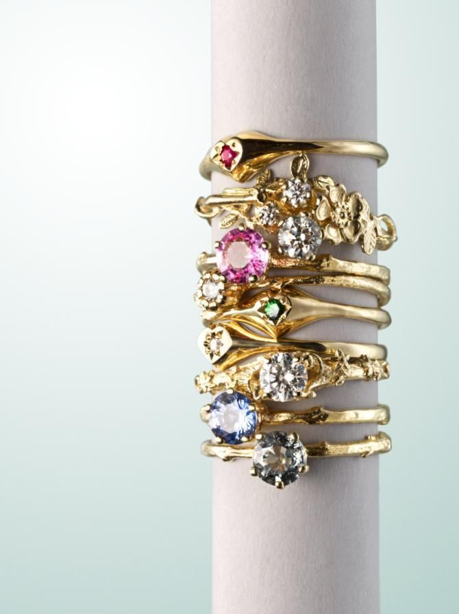 Pretty stack of Alex Monroe Goldcrest Fine Jewellery rings posted by